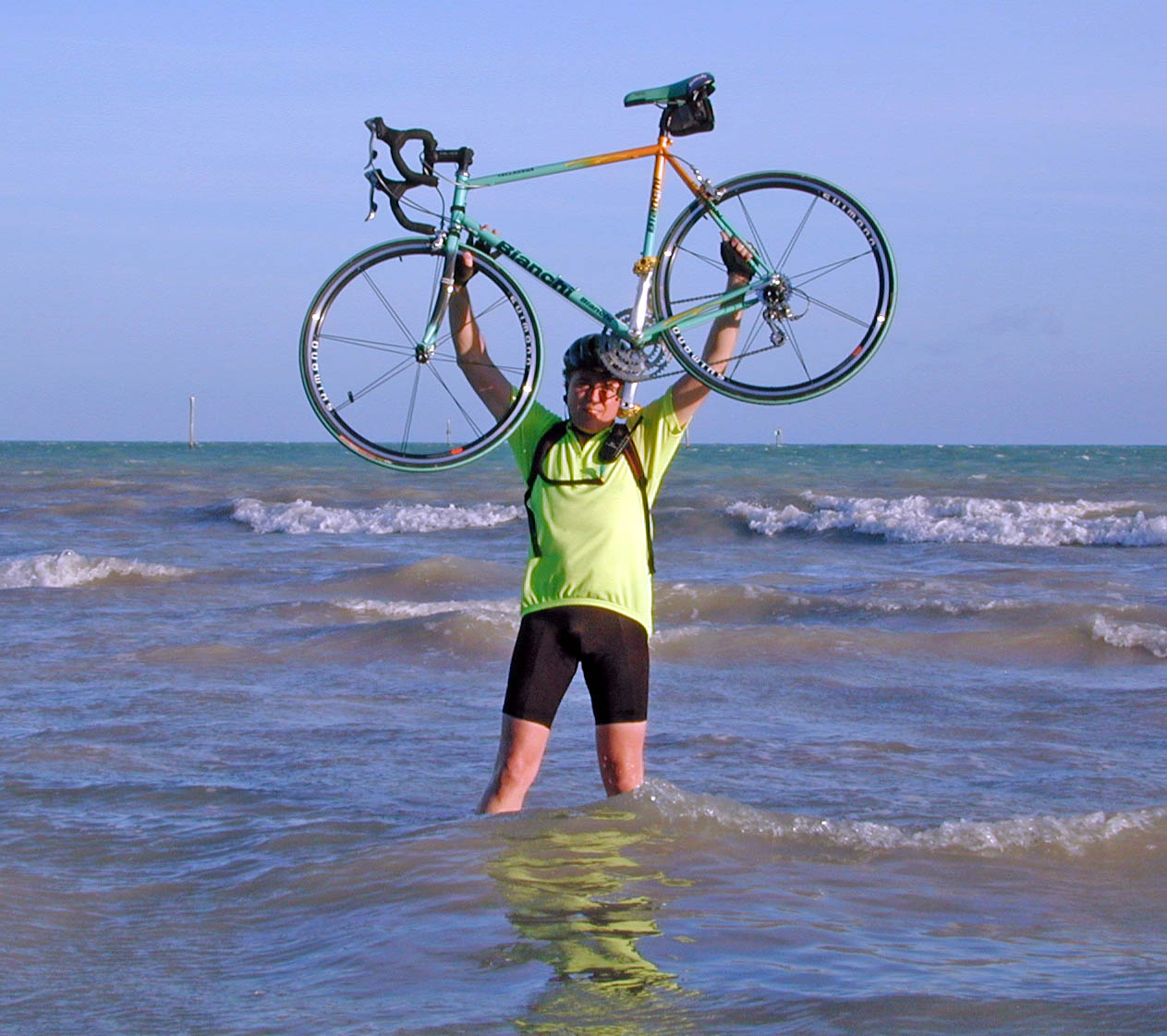 Mark Steinhoff Lifting His Bicycle in Victory