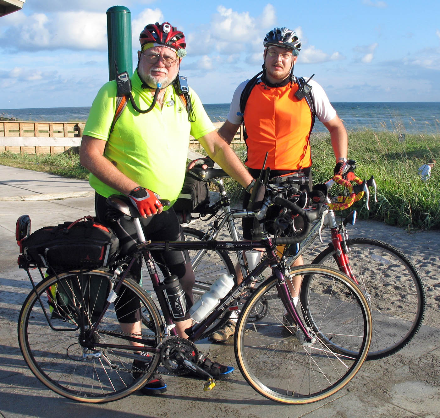 Ken & Matt get ready to begin their cross-Florida bicycle ride.