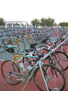 The paint job really stands out in a crowd of bicycles.