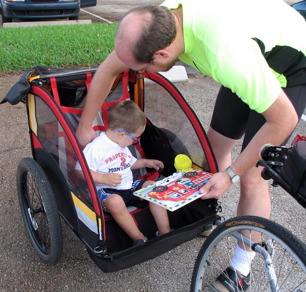 Malcolm in His Bike Trailer at the 2007 Boca Raton Ride of Silence