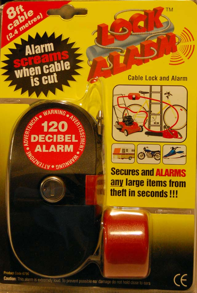 Front of Package: Bike Lock with Alarm - 120 Decibel Alarm
