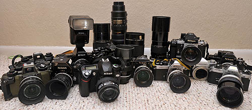 A partial display of the Steinhoff family photographic equipment collection.