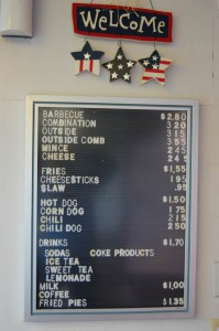 Wib's Barbecue menu board