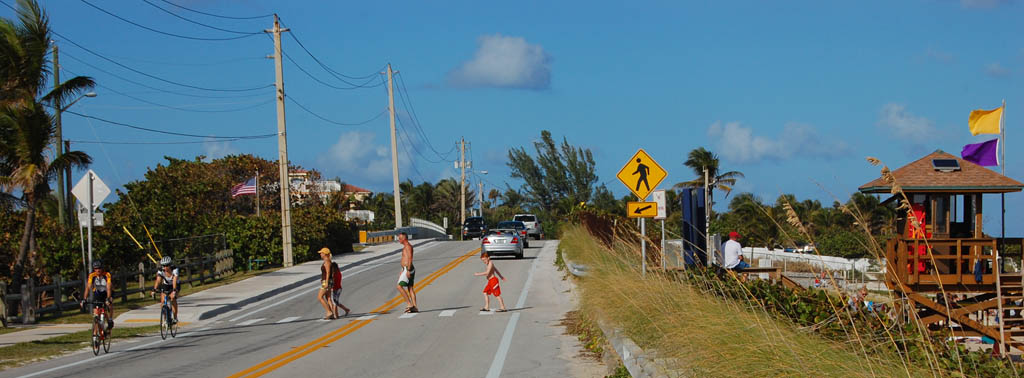 bike and peds Riding A1A to Boynton Inlet on a Perfect Florida Day