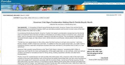 FL Gov. Charlie Crist proclaims March as Florida Bike Month