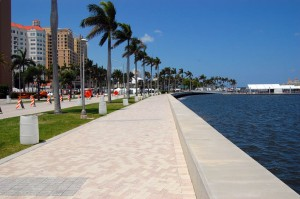 Sidewalk along Flagler Dr. in West Palm Beach, FL