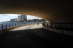 Biker approaching the south side of Royal Palm Bridge