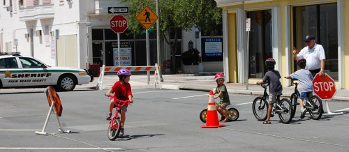 Children learn safety rules at Lake Worth FL bike rodeo