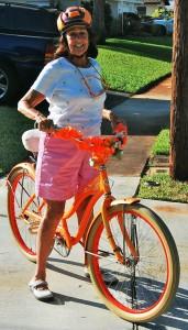 Pat Atwater on her orange bike