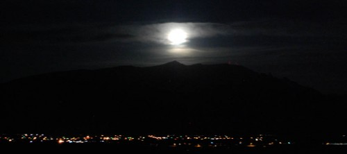 Full moon over the Sandia Mountains near Albuquerque, NM