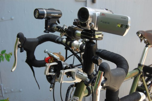 Canon FS100 camera on RAM mount on Surly Long Haul Trucker