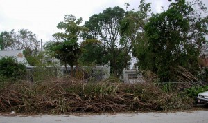 Debris left after Hurricane Frances in 2004