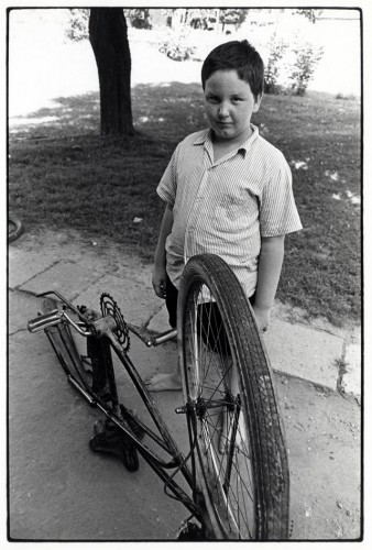 Hemlock, OH, youngster with broken bicycle circa 1968