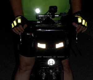 Glo Gloves show up well with your hands on the bars