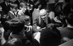 Mary Travers of Peter Paul and Mary with fans at Ohio University in 1968