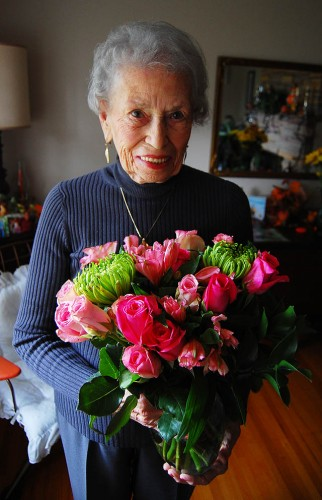 Mary Welch Steinhoff with flowers on her 88th birthday