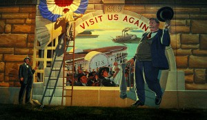 Mural on seawall depicting President Taft visiting Cape Girardeau