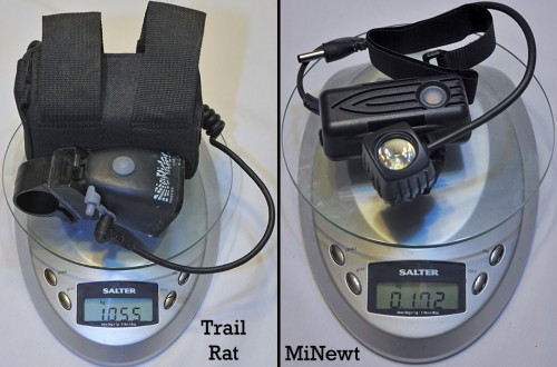 The NiteRider MiNewt weighs just 172 grams compared to the 1,055 grams of the NiteRider Trail Rat.