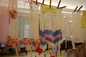Wedding aprons on display at Lutheran Heritage Center & Museum