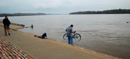 Bike baptism in the Mississippi River at Cape Girardeau, Mo