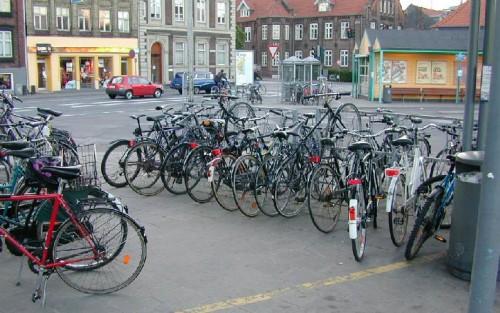 Bike Parking in Aarhus Denmark, circa 1999.