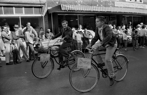 1964 Southeast Missouri State College Homecoming Bury Goldwater bikes