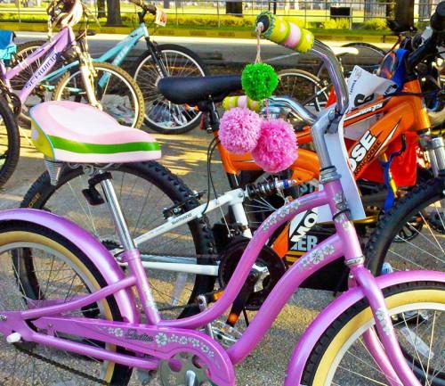 Fuzzy Pom-Poms on Pink Bicycle