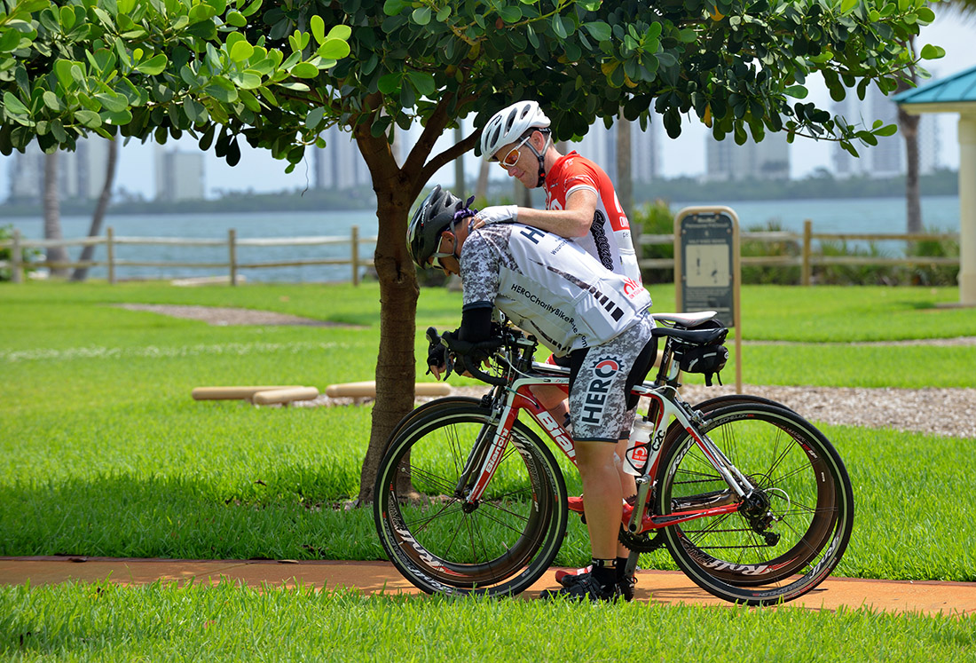 Jeff Masters takes a moment of silence, having finished the 1,200-plus-mile Wounded Warrior Charity Bike Ride.