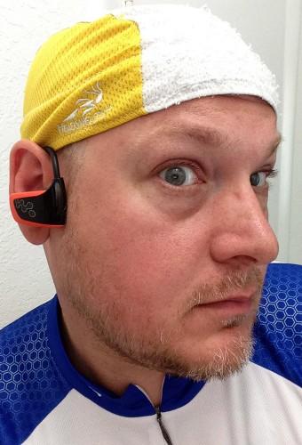 Sony Walkman MP3 NWZ-W262 in use by cyclist Matthew Steinhoff